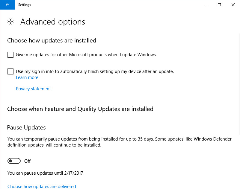 Win10 Home Pause Updates
