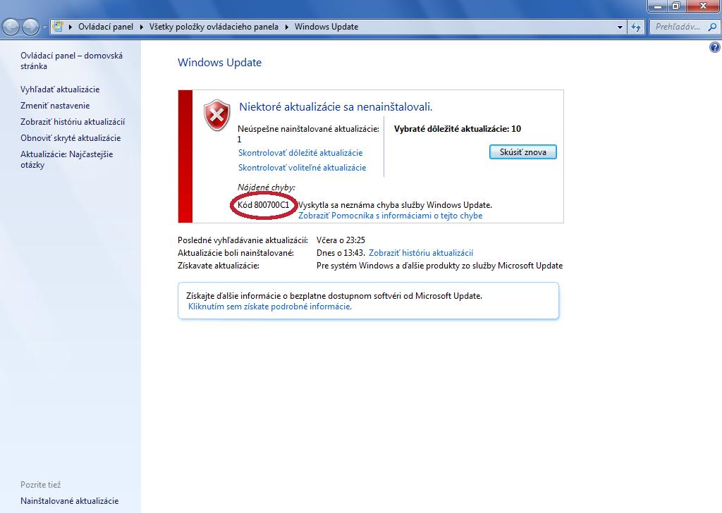 Win 7 32-bit WU update install error issue, Code 800700C1