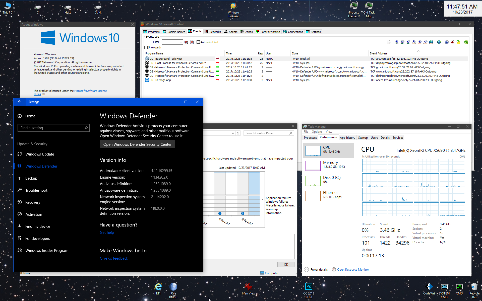 In Win10 1709, Windows Defender continues to pull down
