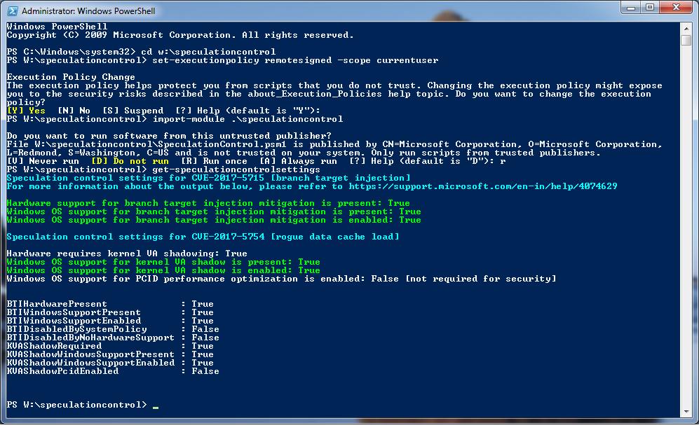 PowerShell Script 1.0.7 Results