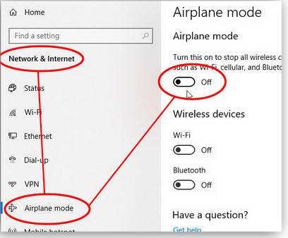 Changing airplane mode in Settings