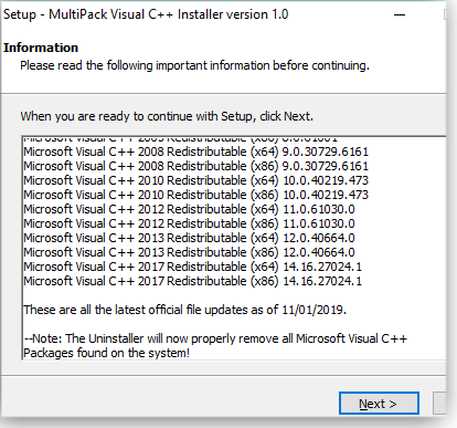 Setting up MultiPack Visual C++ Installer
