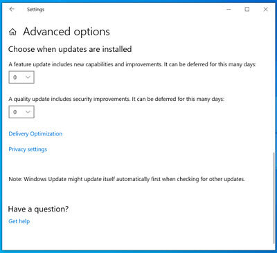 Win10 1903 Pro Windows Update advanced options — WUH? @ AskWoody