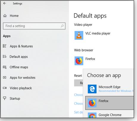 Select default app