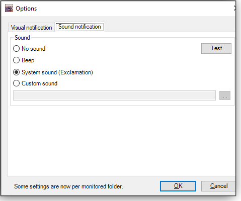 Setting audio notifications