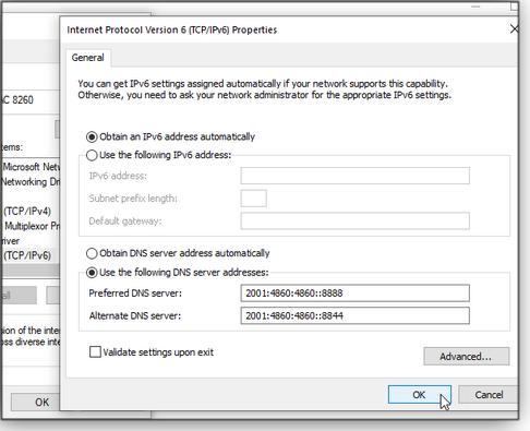 Setting IPv6 servers