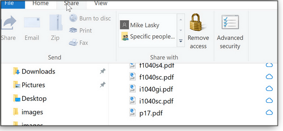 File Explorer's Share option