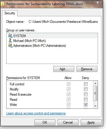 Security properties tab