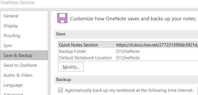 OneNote Backup