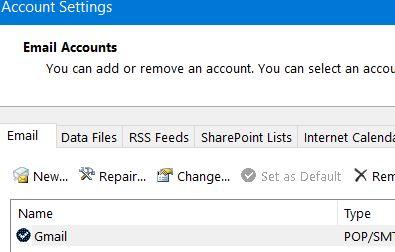 Outlook Account Settings—set Default
