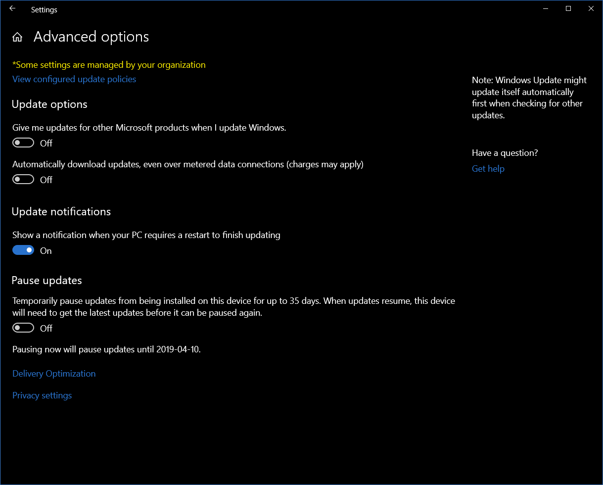 Topic: Win10 1903 Pro Windows Update advanced options — WUH