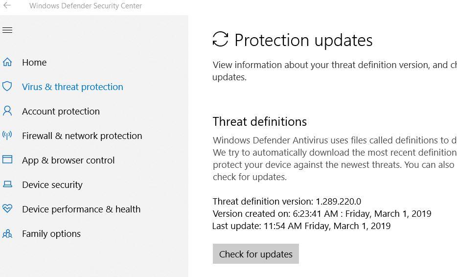 Windows Defender Manual Update