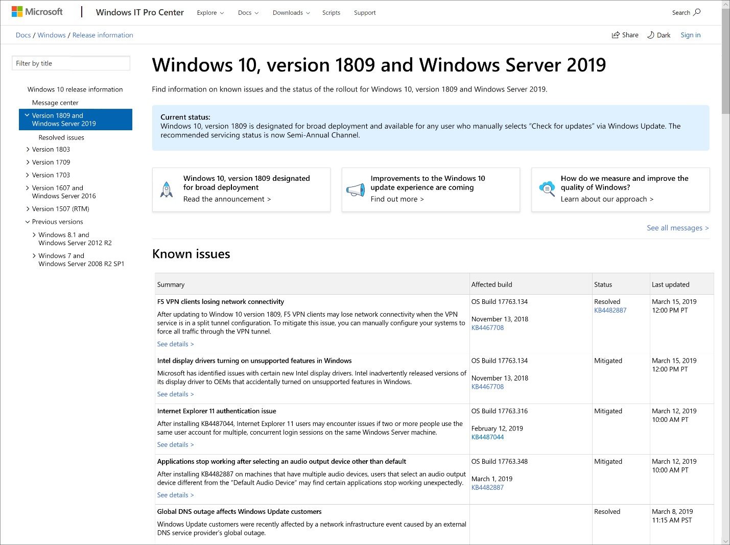 Topic: New update options for Win10 1903 explained @ AskWoody