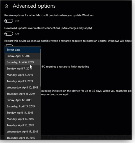 Version 1903 Windows Update pane