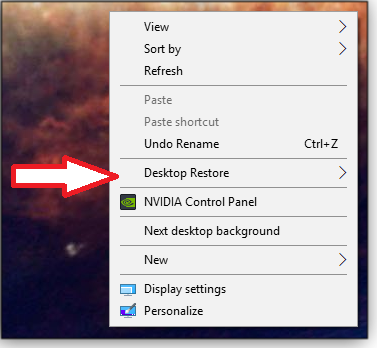 Desktop Restore menu option