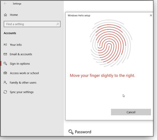 Fingerprint-reader setup