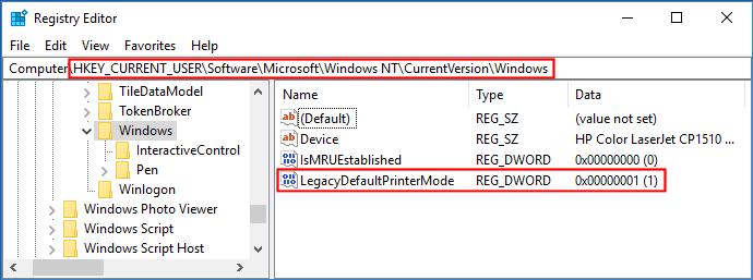 win-10-default-printer-setting-in-registry