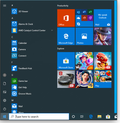 Today's Win10 Start menu