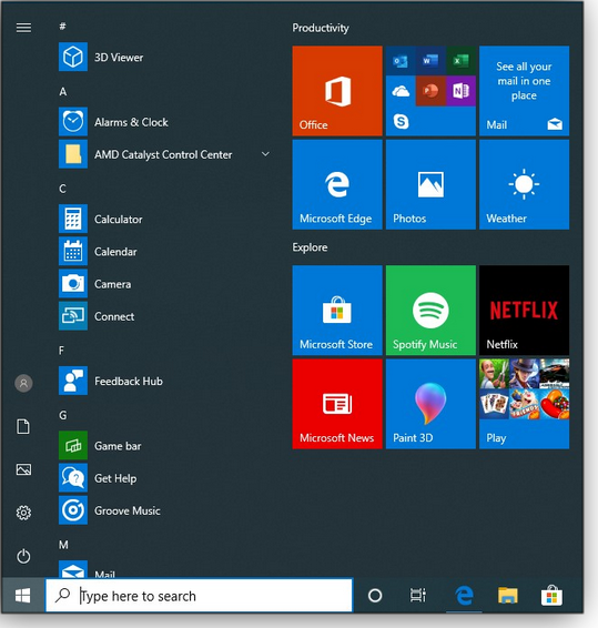 Clean Version 1903 Start menu