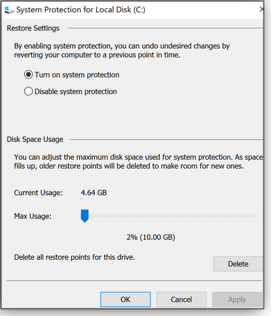 System Protection configuration window
