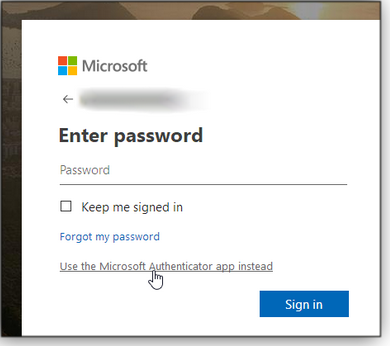 Select Authenticator sign-in