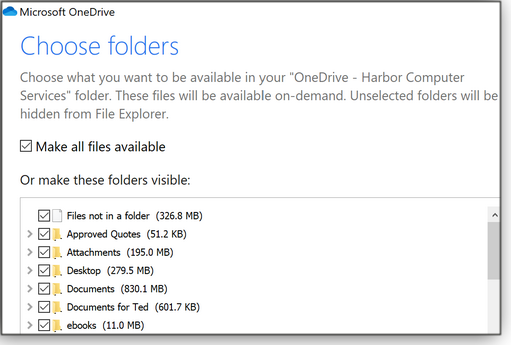 Choose folders window