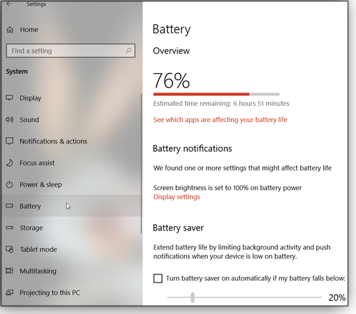 Battery charge status