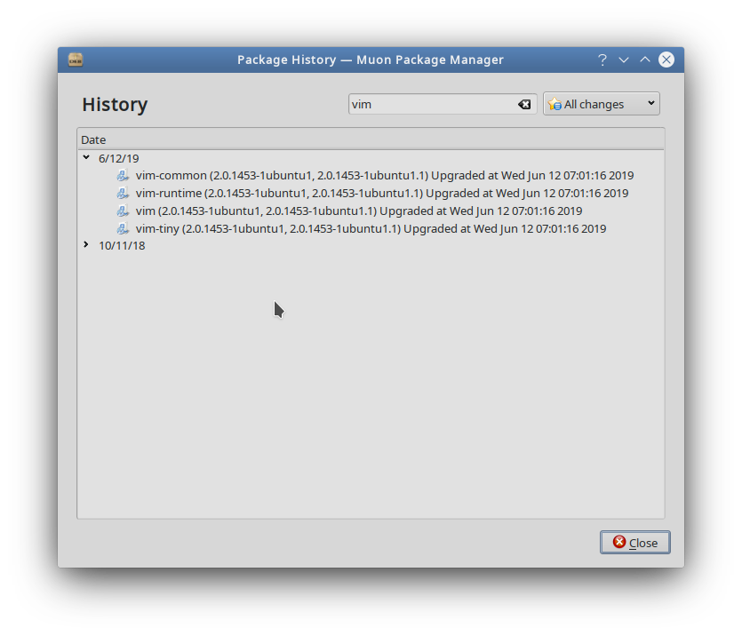 Screenshot from Muon package manager showing updates