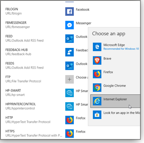 Choose default apps by protocol window