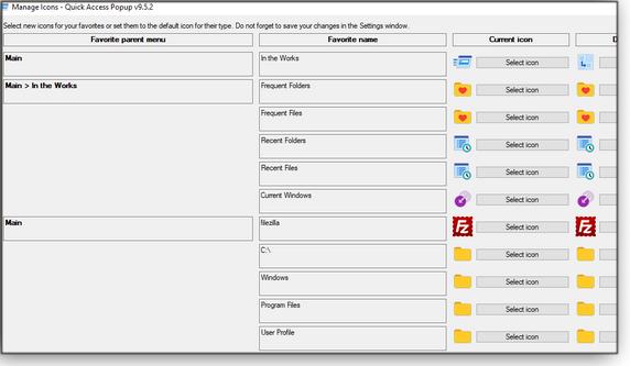 Manage icons