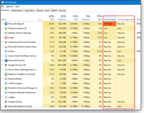 Task Manager power tracking
