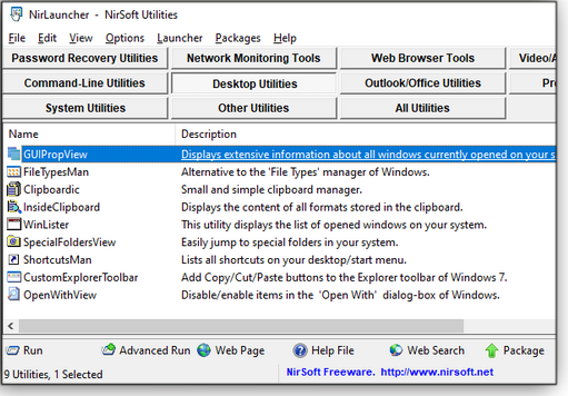 Desktop Utilities tab