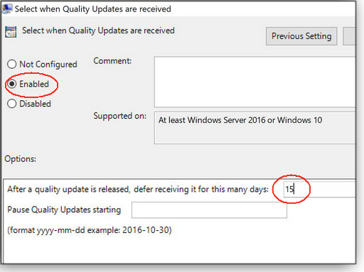 Quality-update deferral settings