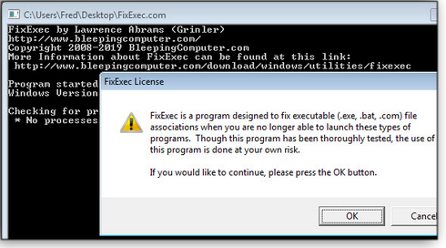 BleepingComputer's free FixExec tool