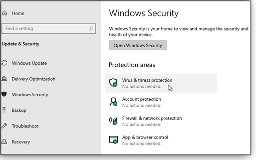 Main Windows Security section