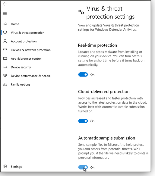 Virus & threat protection settings screen