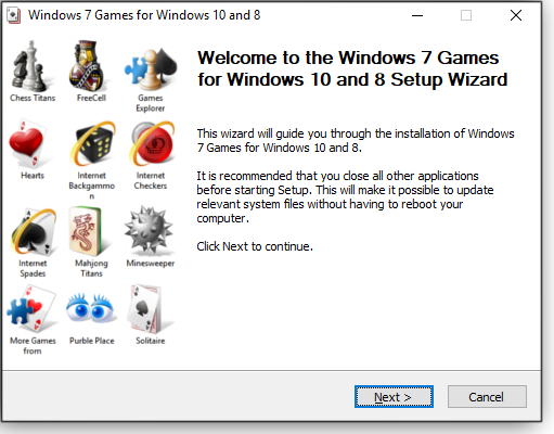 Install wizard welcome screen