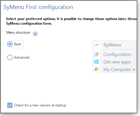 First configuration screen