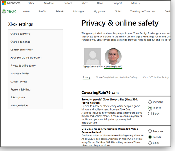 Xbox privacy settings