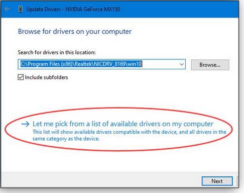 pick the drivers manually
