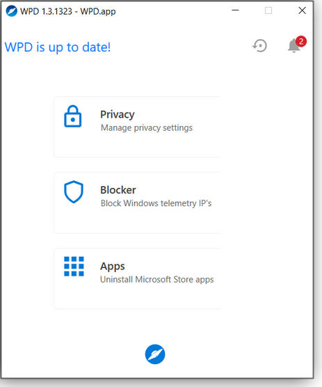 Initial WPD screen