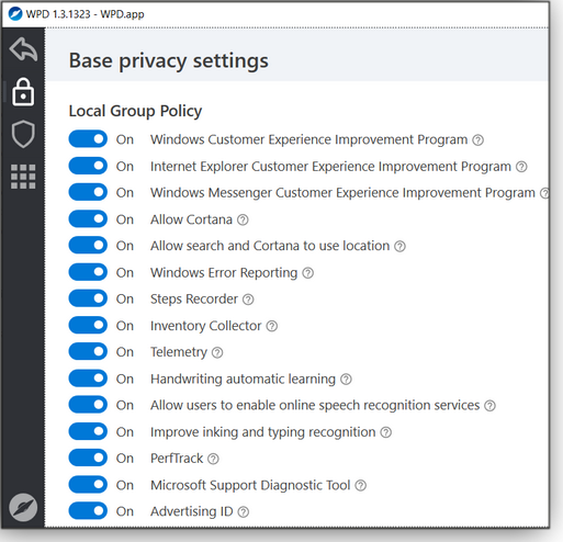 Base privacy settings, screen 1