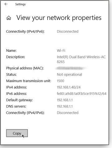 Network properties screen