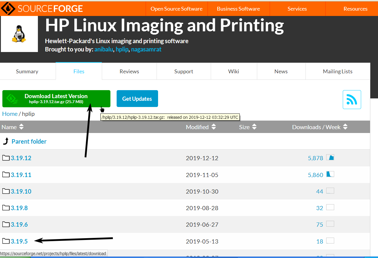 Different-hplip-versions-step-two