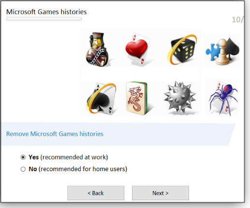 Microsoft Games histories screen