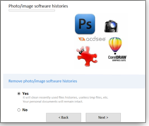 Photo/image software histories screen