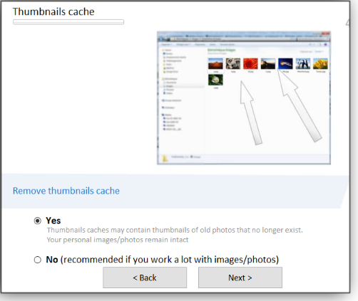 Thumbnails cache screen