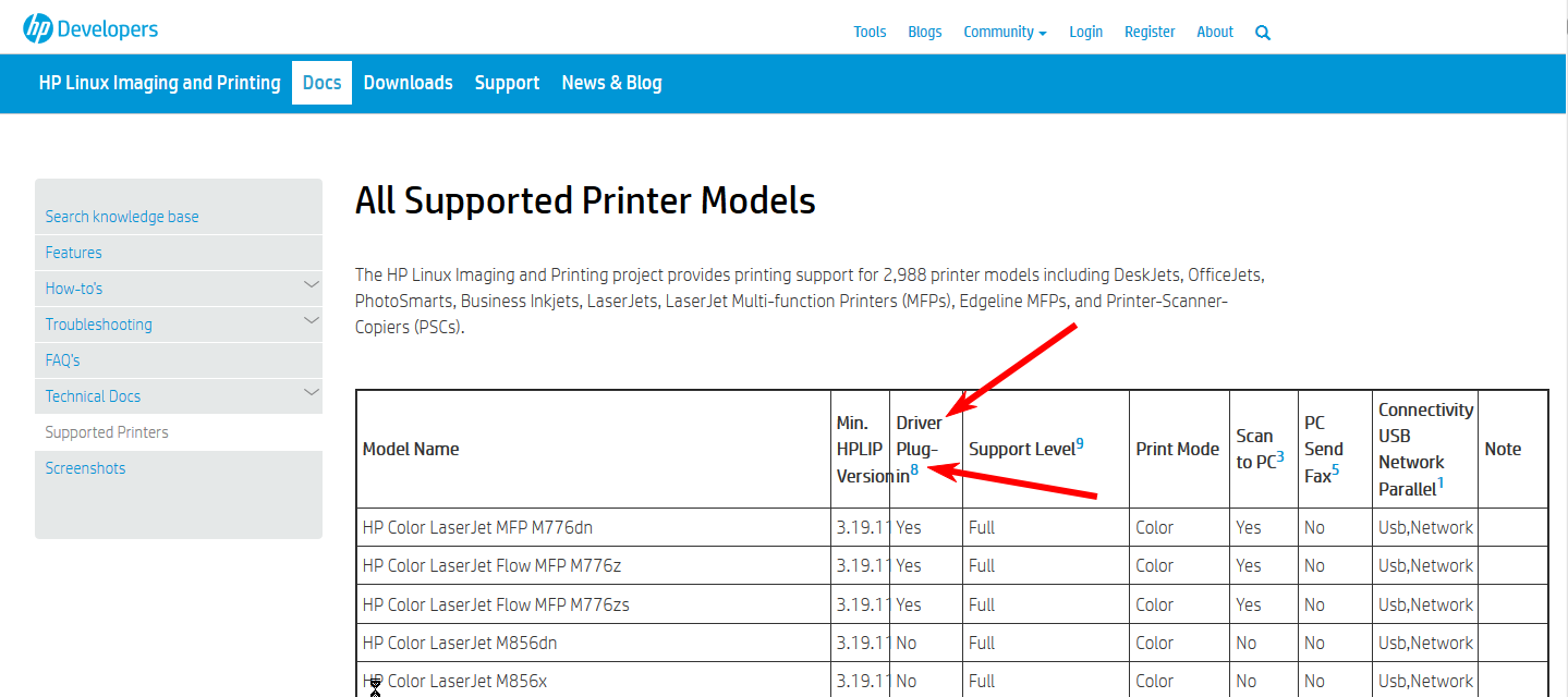 Supported-Printers-Column-Headers