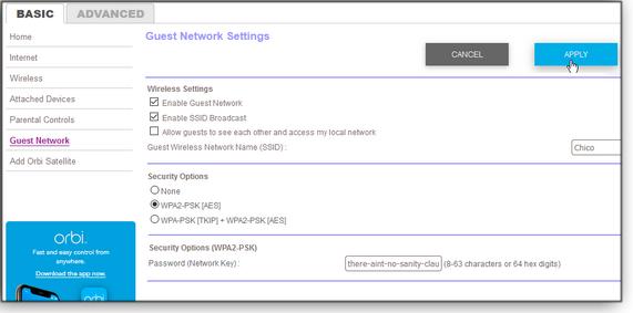 Guest network screen