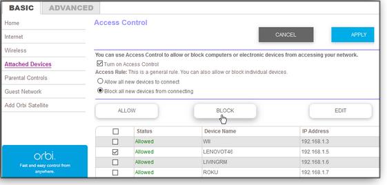 Access Control screen